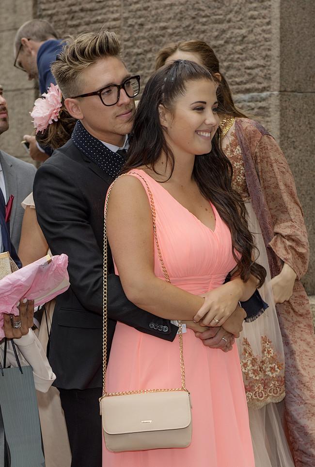 Danny Saucedo och Molly Sandén Bobby Oduncus och Jimi Bennets bröllop på Engelbrektskyrkan, Stockholm 16-07-02 Foto ©Eero Hannukainen EEROBILD AB IBL *** Local Caption *** 06586425