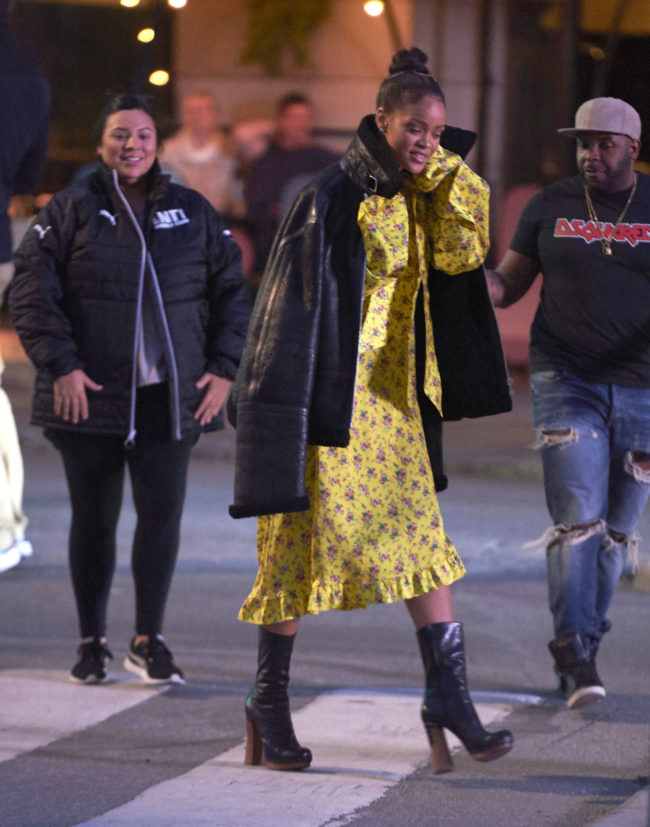52113241 Singer Rihanna spotted walking from the Grand Hotel to a small restaurant in Stockholm, Sweden on July 5, 2016. Rihanna signed some autographs for fans before walking back to her hotel with her security team. FameFlynet, Inc - Beverly Hills, CA, USA - +1 (310) 505-9876 RESTRICTIONS APPLY: NO DENMARK COPYRIGHT STELLA PICTURES