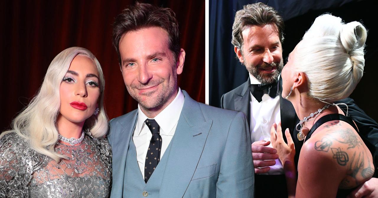 Bilden på Lady Gaga och Bradley Cooper förstärker romansryktena då Bradley har rött läppstift vid munnen. Liknande nyans som Lady Gaga har på läpparna.