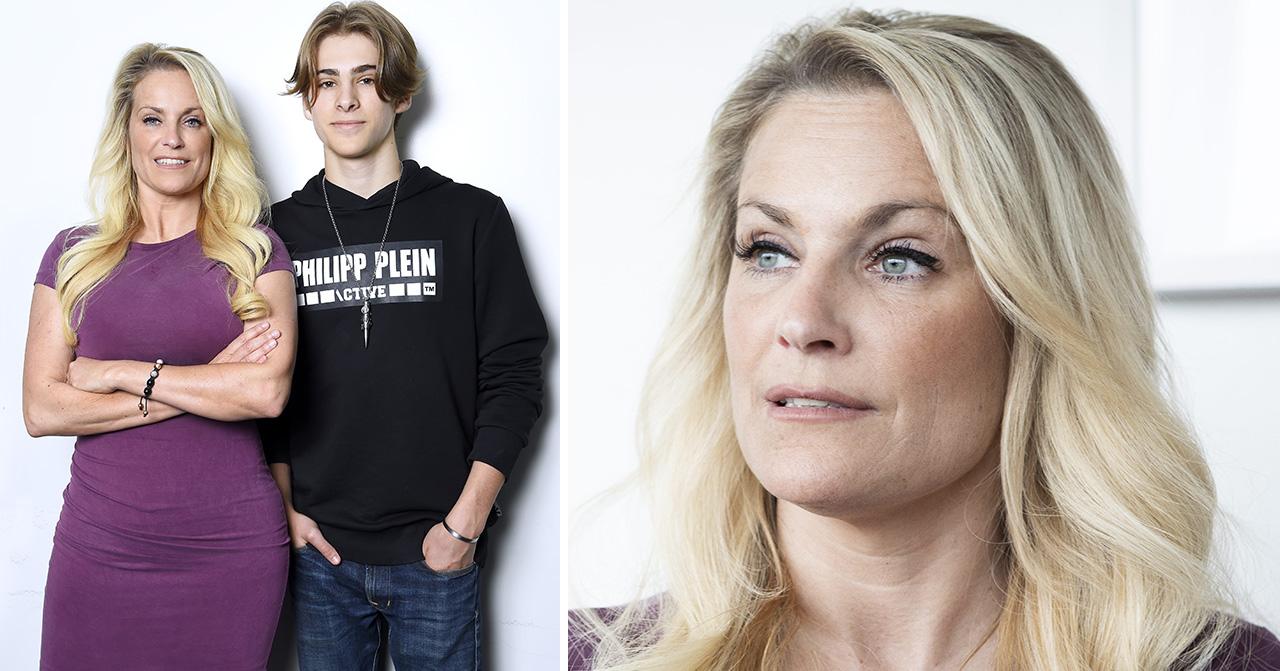 Laila Bagge och sonen Liam Pitts på pressträffen för Lailaland.