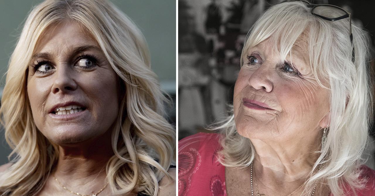 Pernilla Wahlgren ser förvånad ut och Christina Schollin ler.