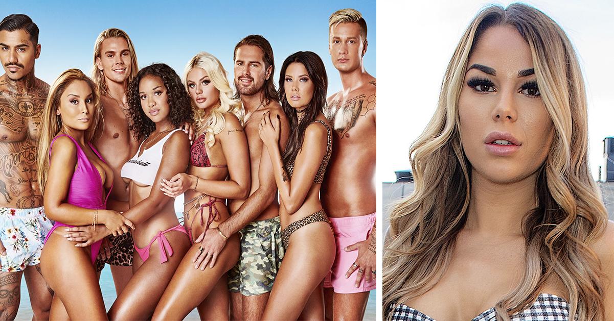 """Jasmine """"Jasse"""" Gustafsson och deltagarna i Ex on the beach 2019."""