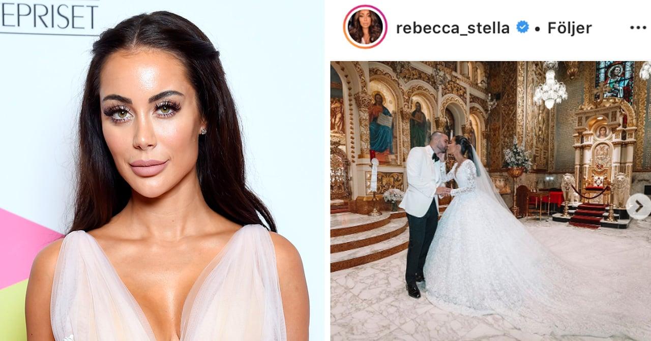 Rebecca stella pussar Manny Dion efter bröllopet