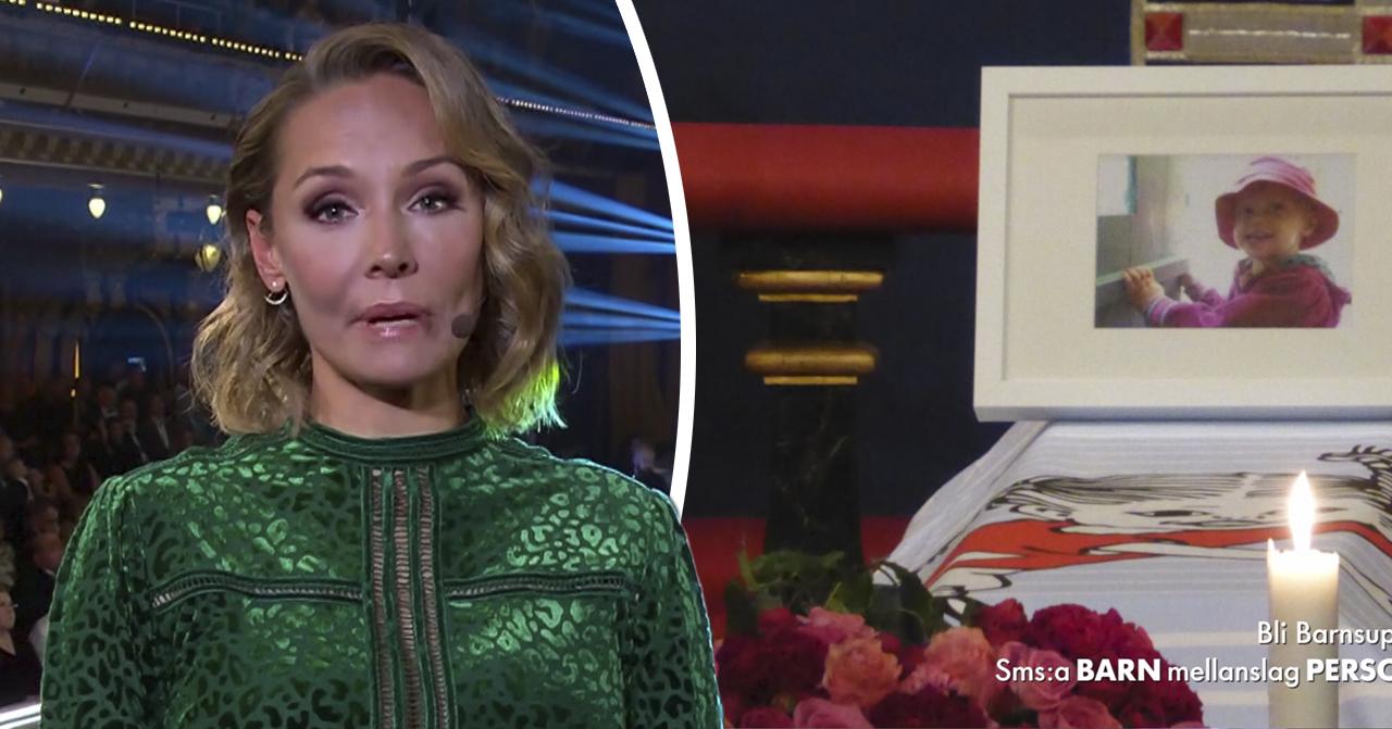 Carina Berg i tårar efter inslaget om Meja, 2, på Bancancergalan
