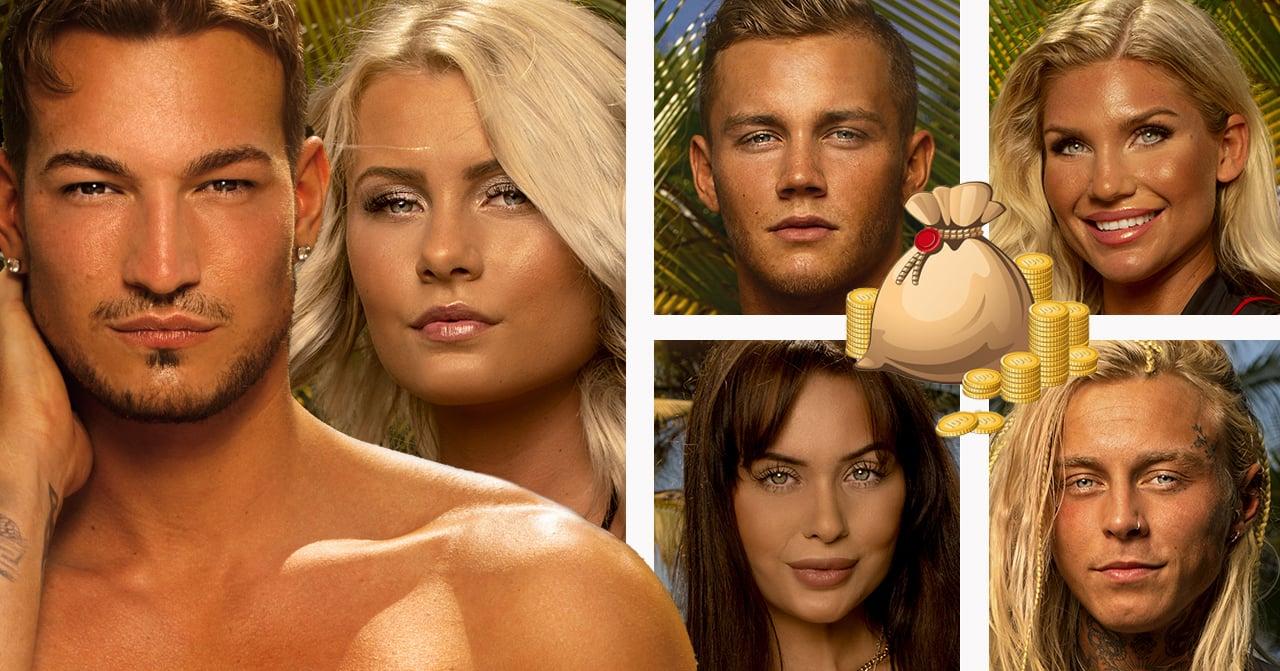 Marcelo Peña, Erica Lindberg, Jesper Bengtsson, Jennifer Karlsson, Nina Glimsell Udovicic och Adam Linard i Paradise hotel 2019.