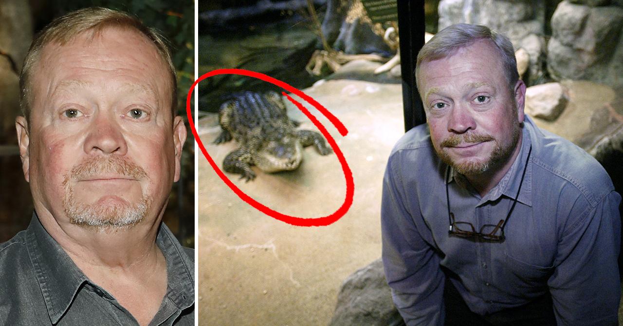Jonas Wahlström på Skansen med krokodil i bakgrunden.