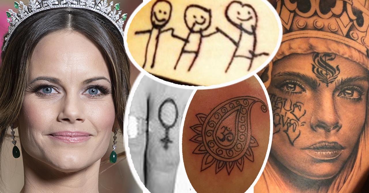 Prinsessan Sofia och svenska kändisars tatueringar.