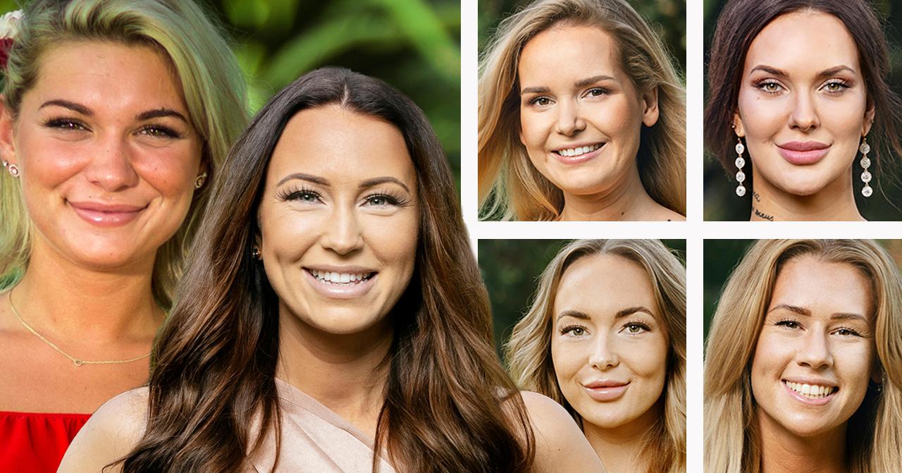 Patricia Hanjikova, Johanna Ohlsson, Amanda Koskela, Emmy Rönning, Isabella Englund och Hannah Forsdahl i Bachelor 2019.