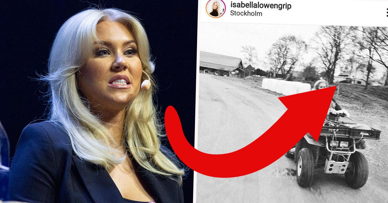 Isabella Löwengrip får kritik efter att ha åkt fyrhjuling med 4-åriga dottern utan hjälm.