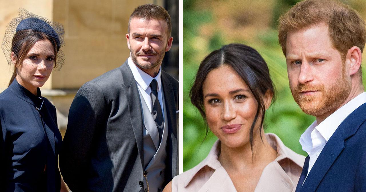 Relationen mellan Beckham och prins Harry och Meghan Markle