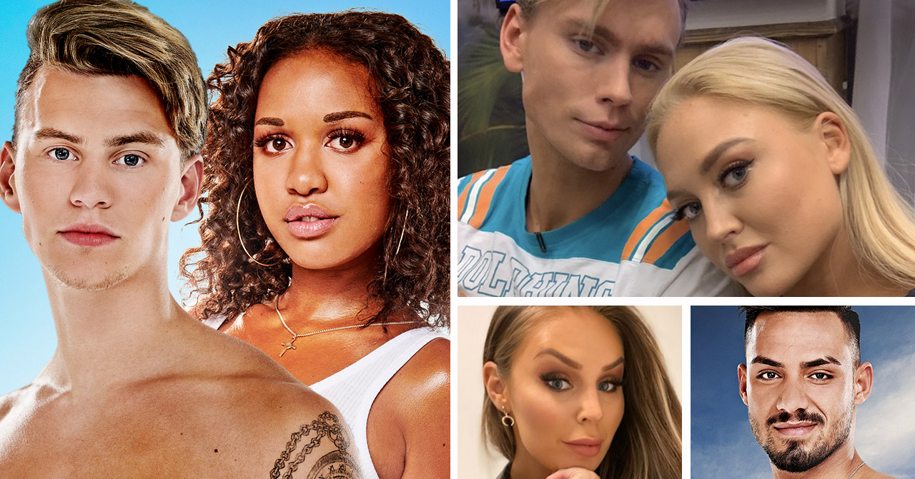 Edwin Ramwall, Nora Oskarsson, Kevin Härdevik, Ida Österberg, Rebecca Pontmark och Tala Mohammed i Ex on the beach 2019.