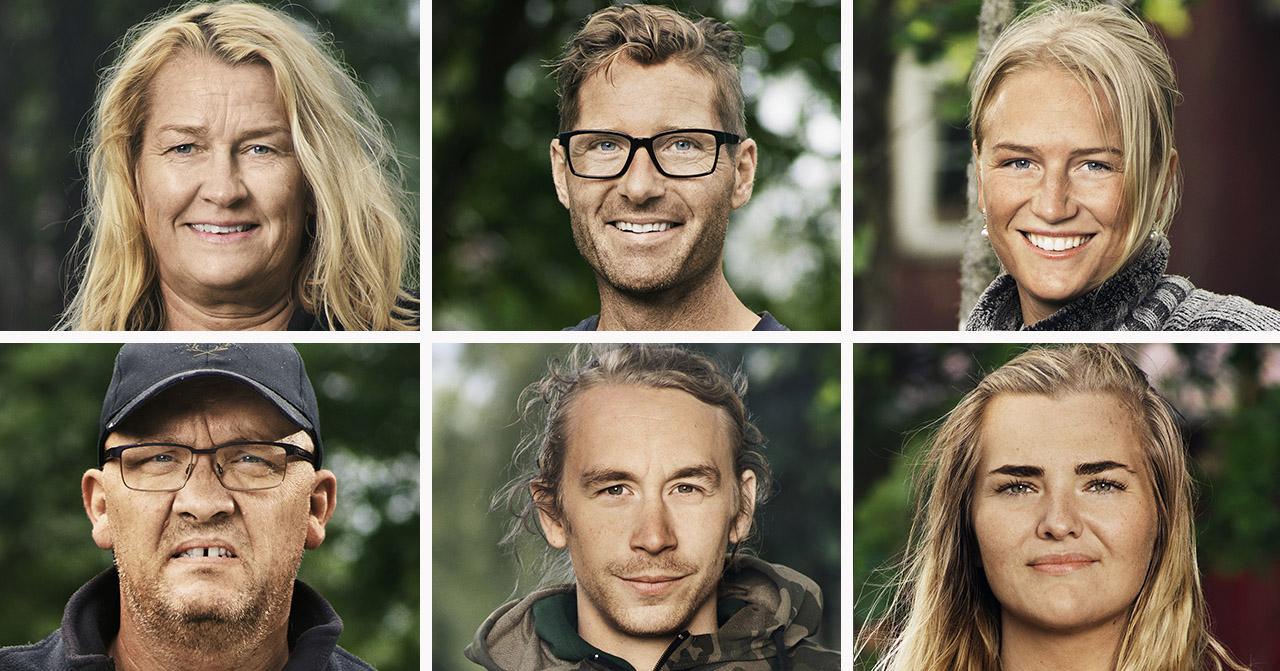 Elonora Gustafsson, Peter Bysell, Esmeralda Gyllensvärd, Jean-Luc Martin, Johan Skattberg och Linnéa Åkesson i Farmen 2020.