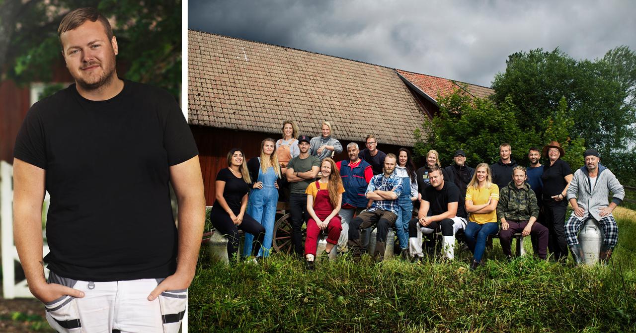Pressbild på Simon Axelsson och alla andra deltagare i Farmen 2020