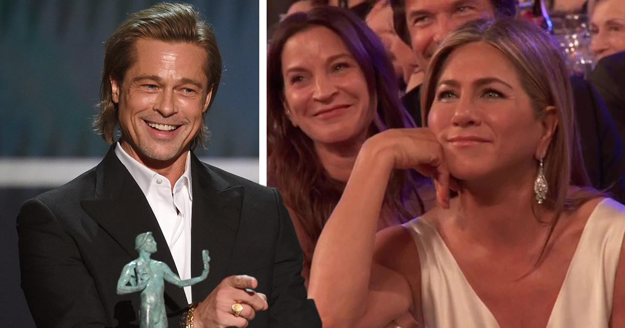 Brad Pitt och Jennifer Anistons lycka – bilderna från nattens gala avslöjar relationen