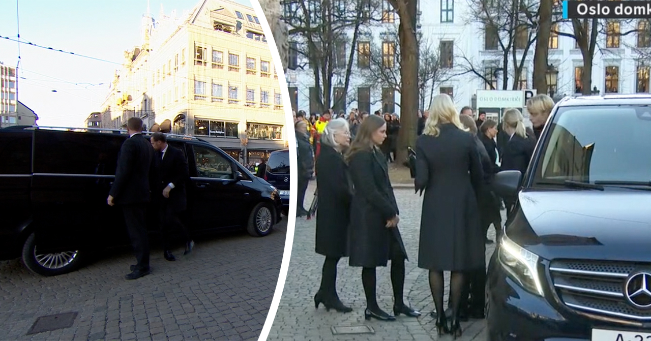 Haakon stöttar Märtha louise vid Ari Behns begravning