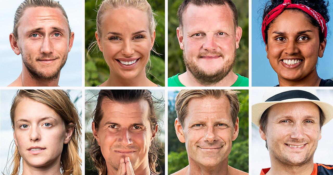 Christoffer Willén, Julia Franzén, Michael Björklund, Priya Svang, Clara Henry, Kristove Rueda, Mattias Pettersson och Jani Jokinen i Robinson 2020.