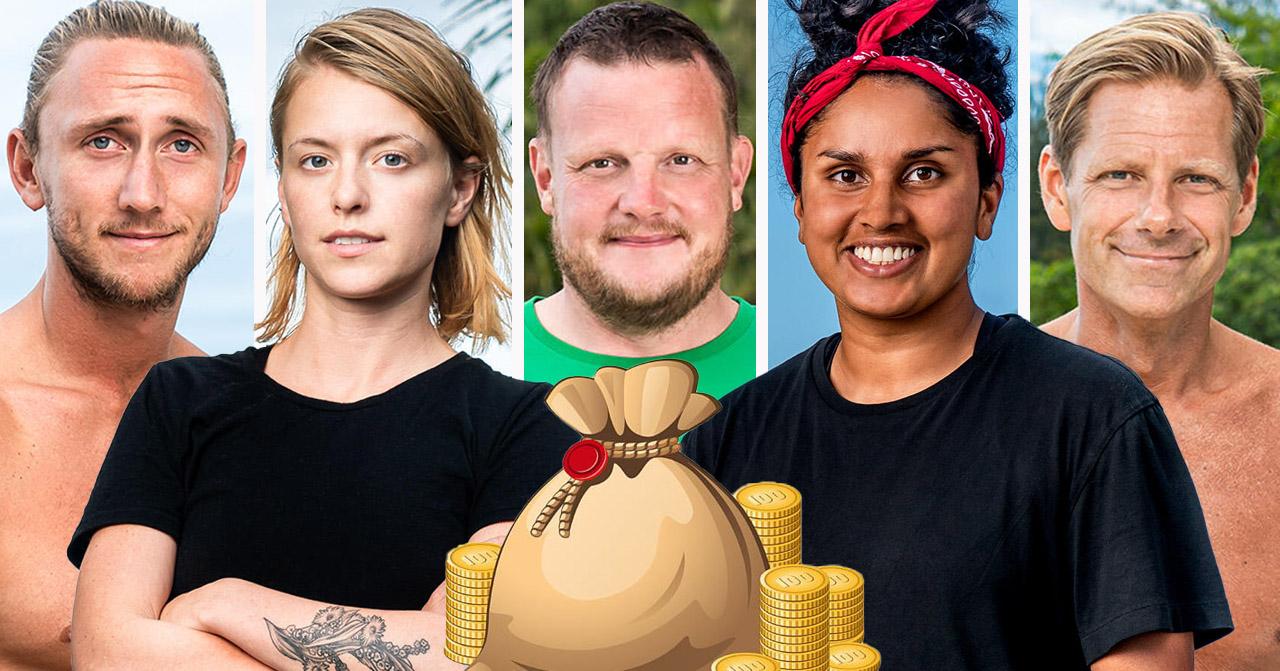 Christoffer Willén, Clara Henry, Michael Björklund, Priya Svang och Mattias Pettersson i Robinson 2020.