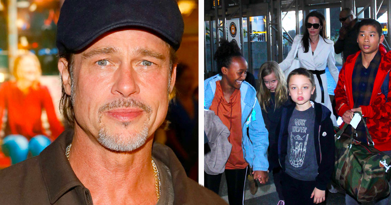 Brad Pitt och Angelina Jolie med barnen