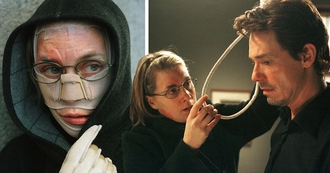 Anna Maria Käll som psykopaten Emelie i Rederiet och Bengt Bauler som hennes offer Carl.