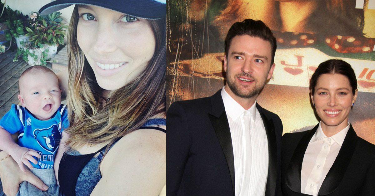 Här visar Justin Timberlake och Jessica Biel upp nyfödda sonen