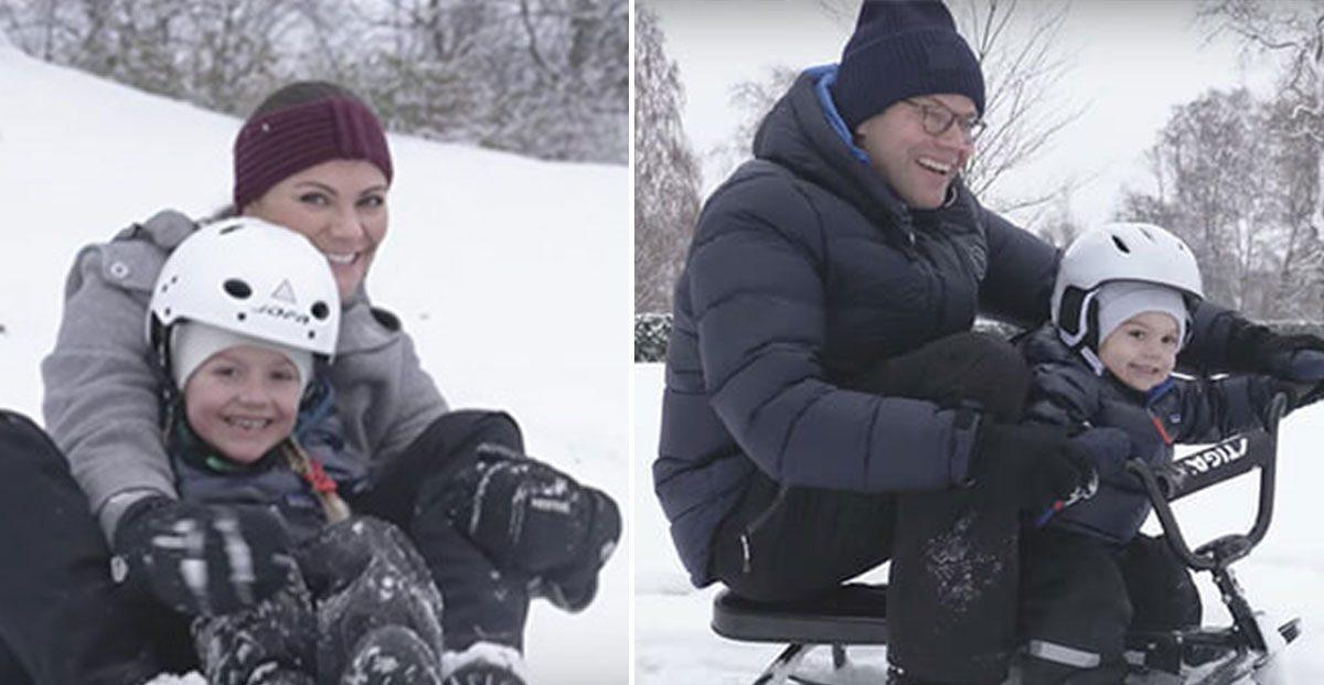 Se upp i backen! Här glänser prinsessan Estelle och prins Oscar på skidor i Åre