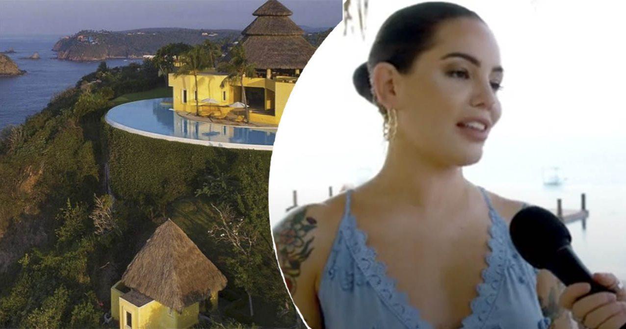 aradise Hotel-programledaren Triana Iglesias i blå klänning