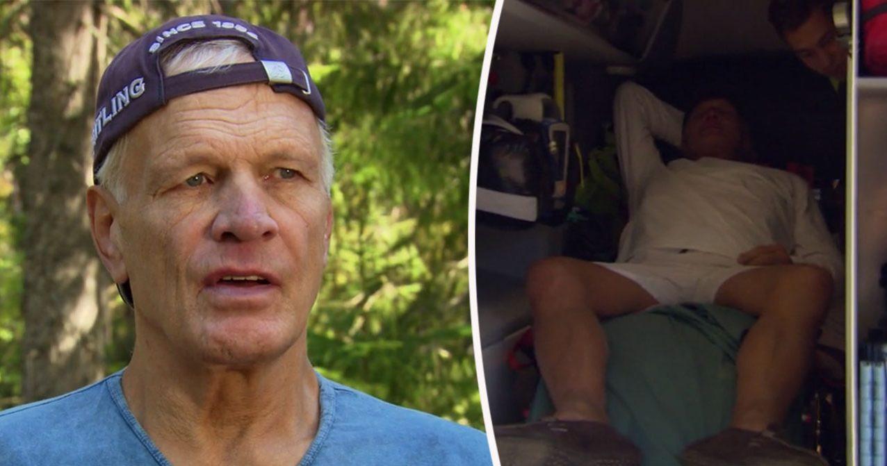 Frank Andersson lämnar Farmen VIP i ambulans.