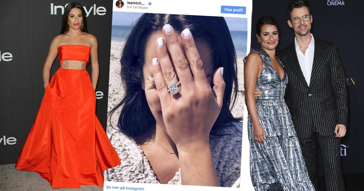 Lea Michele i röd klänning