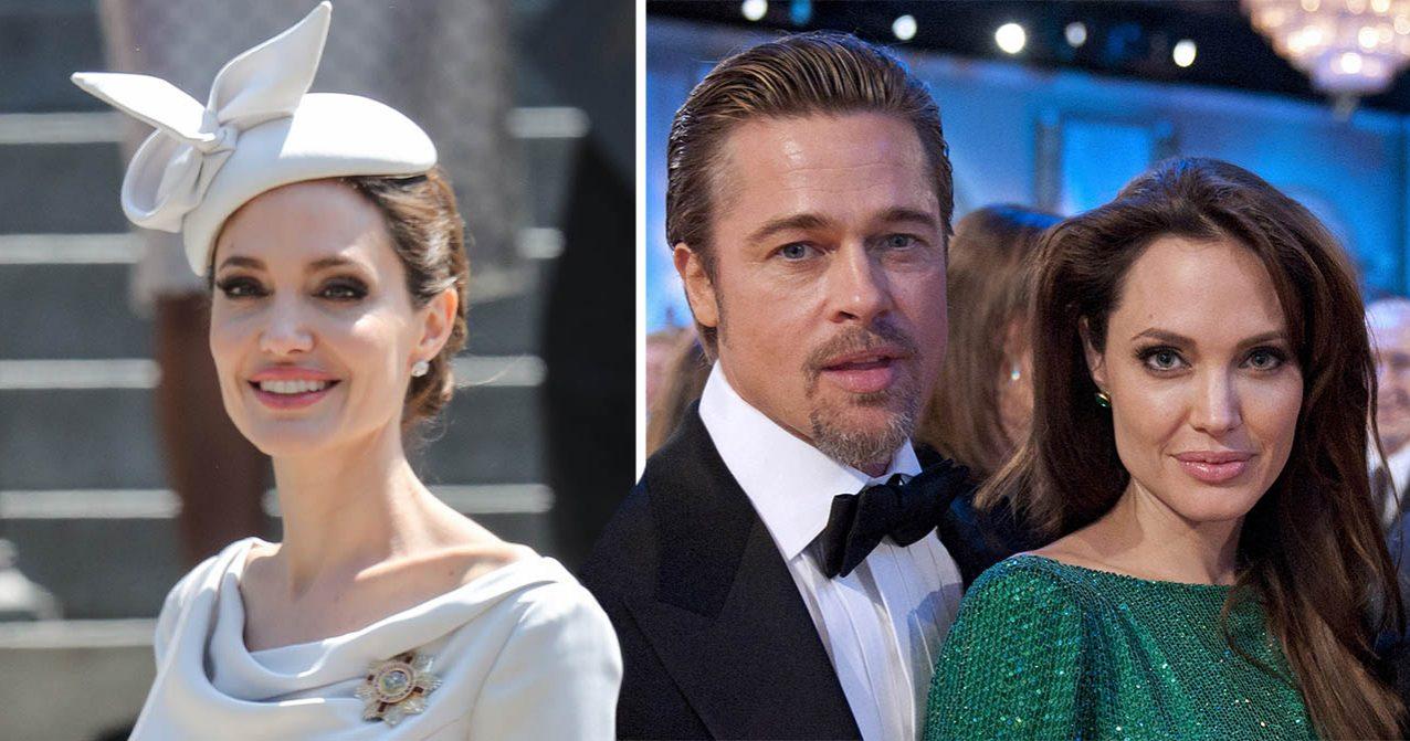 Brad Pitt och Angelina Jolie poserar