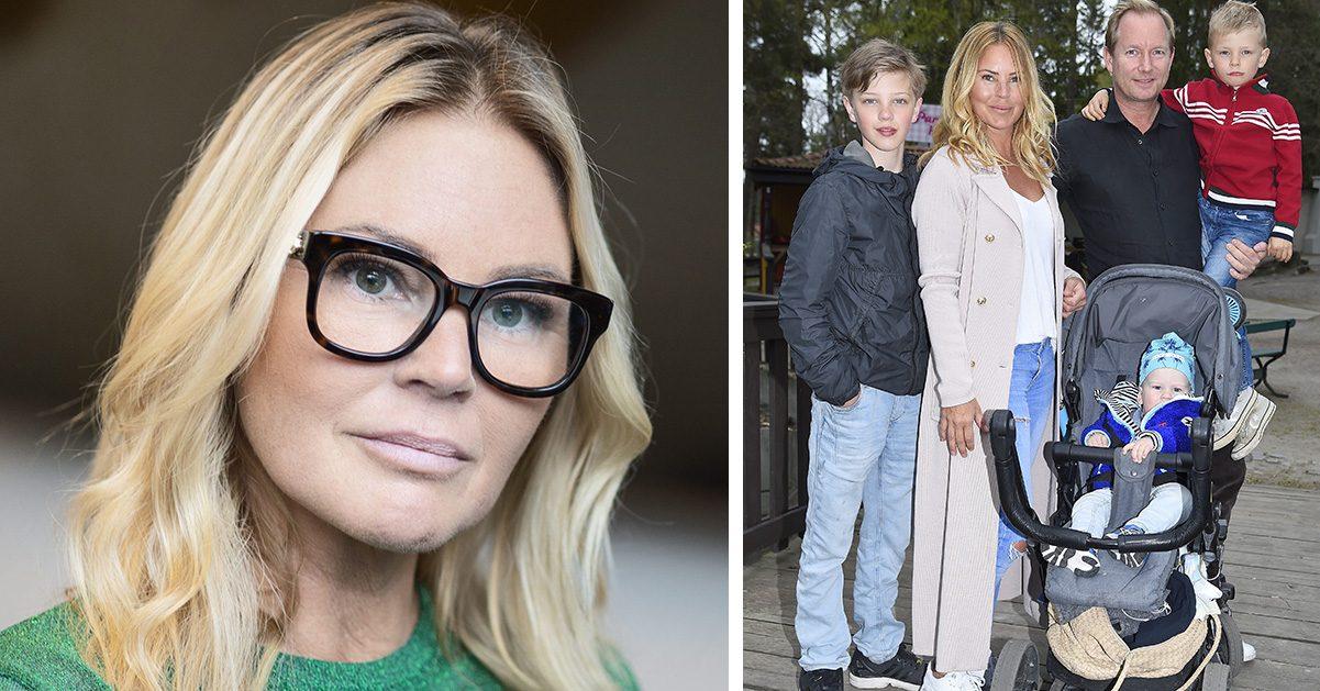 Magdalena Graaf tillsammans med kärleken Filip Larsson och barnen Tristan, Charlie ochLouie.