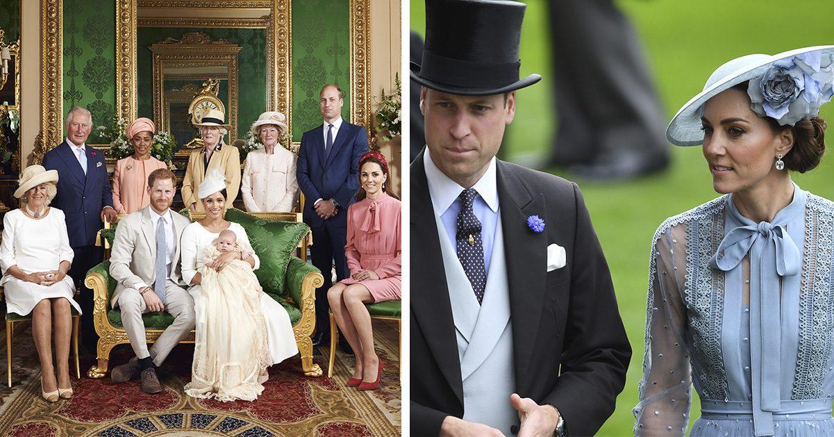 Kate Middleton och Prins William anklagas för att se olyckliga ut på Archies dop, medan föräldrarna Meghan Markle och prins Harry är stolta över att visa upp sin son.