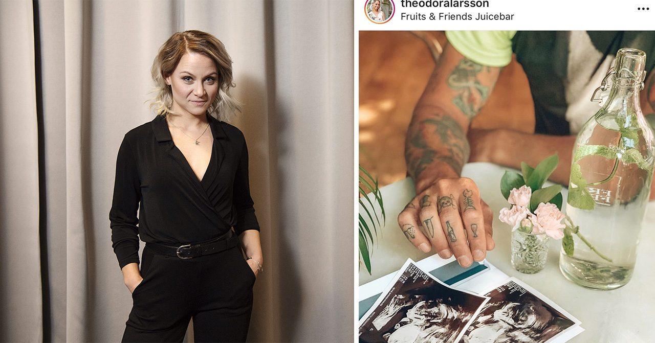 """Gravida Theodora Larssons besked om bebisen efter oron: """"Lättad"""""""